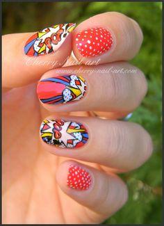 nail art pois explosion reproduction oeuvre pop art roy lichtenstein