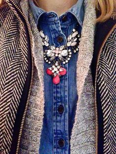 chambray, statement necklace, sweater and herringbone vest