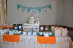 party set up, aqua blue and orange