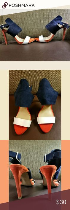 Navy, red-orange and white heels Beautiful color pop heels. Great for the summer with any outfot, unfortunately my feet are too wide for these babies, have to let them go Zara Shoes Heels