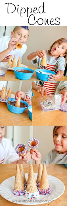 Dipped Cones - 4th of July ideas!! Kid friendly!