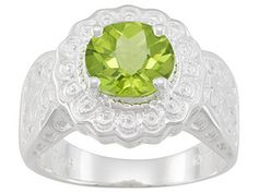 Qinpei Peridot(Tm) 2.10ct Round Checkerboard Cut Sterling Silver Ring