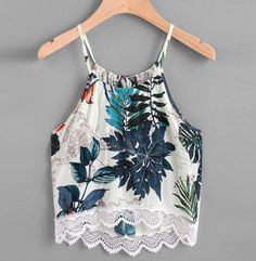 Shop Tropical Print Lace Hem Tie Back Cami Top online. SheIn offers Tropical Print Lace Hem Tie Back Cami Top & more to fit your fashionable needs. Teen Fashion Outfits, Trendy Outfits, Cool Outfits, Summer Outfits, Sleeveless Crop Top, Printed Tank Tops, Looks Style, Cami Tops, Ideias Fashion