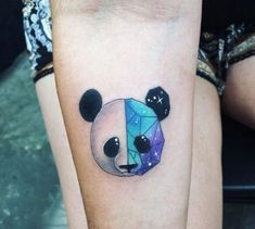 60 Creative and Cool Cosmic Tattoo Designs Geometric space panda by Kaitlin Dutoit Simbolos Tattoo, Kopf Tattoo, Get A Tattoo, Trendy Tattoos, Tattoos For Guys, Tattoos For Women, Neue Tattoos, Body Art Tattoos, Space Tattoos