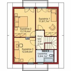 Rzut poddasza budynku według projektu Domek Mały 004 ES Floor Plans, Sims, Mantle, Floor Plan Drawing, The Sims, House Floor Plans