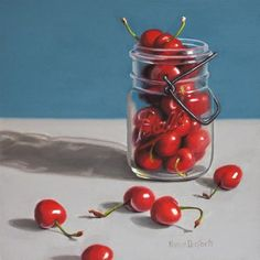 "Daily+Paintworks+-+""Cherries+in+Ball+Jar""+-+Original+Fine+Art+for+Sale+-+©+Nance+Danforth"