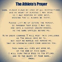 An Athletes Prayer.