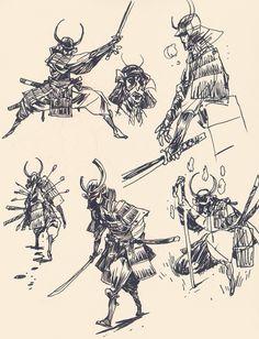 azertip:  blackyjunkgallery:Some samurais  Lovely work.