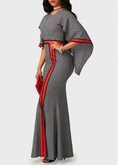 V Neck High Waist Printed Mermaid Dress on sale only US$34.90 now, buy cheap V Neck High Waist Printed Mermaid Dress at liligal.com