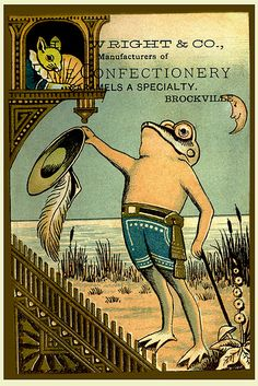 Mr. Froggy and Miss Mousie trade card   c1885