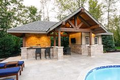 Timber framed pergola and pool house in massachusetts - Swimming pools burlington ontario ...
