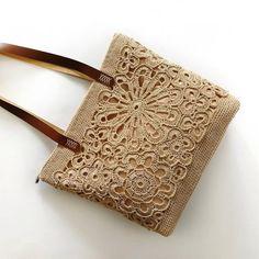 Crochet Bag with Leather Handles, Summer Tote bag with lace, Designer Cotton Big Bag, Gift for Women. Crochet Handbags, Crochet Purses, Crochet Shoulder Bags, Lace Bag, Summer Tote Bags, Spinning Yarn, Burlap Crafts, Bracelet Crafts, Crochet Art