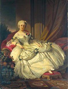 Portrait of the Countess of Farrobo (Condesa de Farrobo), Dona Madalena. Painted by José Rodrigues in 1860, in a baroque theme