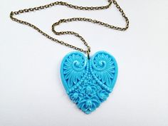 Blue Carved Heart Necklace £4