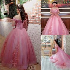 369b78668ad Okaybrial Womens Sweet 16 Quinceanera Dresses Blush Pink Off Shoulder Lace  Long Prom Ball Gowns Size