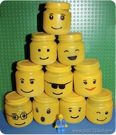 Upcycle Us: Upcycling baby food jar into cool-looking lego storage would also be cute filled with candy as party favors for a lego party