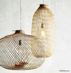 Lumina bamboo pendant lamps are airy and delicate looking; they are woven using split bamboo These handwoven lamps from hand cut bamboois both modern and authentic. This lamp is available in two size Pendant Light Fixtures, Pendant Lighting, Pendant Lamps, Bamboo Pendant Light, Lustre Grande, Luminaria Diy, Basket Lighting, Deco Luminaire, Diy Design