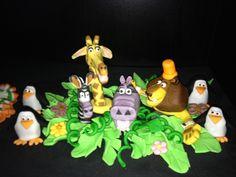 Fondant Madagascar figurines for cake topper