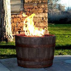 Wine Barrel Fire Pit - Rust