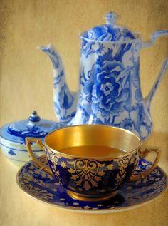 Organic Green Tea, Dark Chocolate, English Coalport China teacup