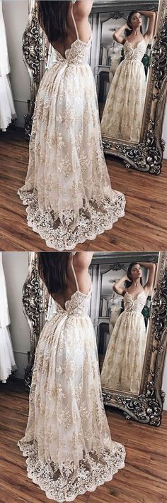 Champagne Lace Princess Backless Evening Gowns,Prom Dresses,Party Dresses,PDY0343