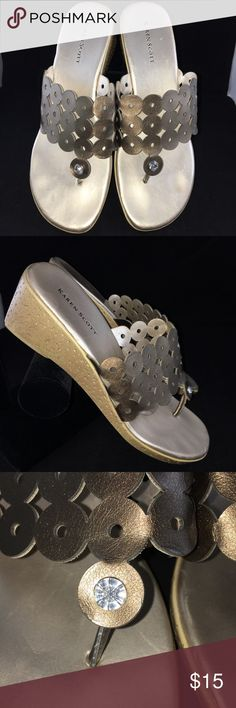 Taupe satiny sandals Used but in good condition. Taupe color with clear gemstone on front. Karen Scott Shoes Sandals