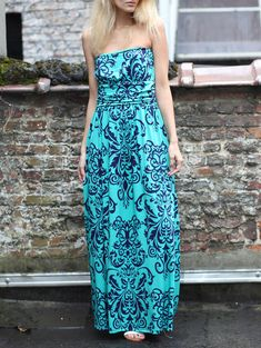 Bohemian Printed Backless Strapless Dress For Women (TIFFANY BLUE,XL) | Sammydress.com
