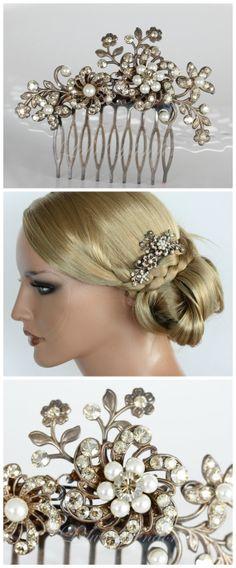 Wedding Hair Comb Champagne Crystal Bridal Hair Accessories Golden Shadow Ivory pearl Vintage Wedding SABINE.