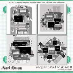 Digital Scrapbook Templates - Sequentials 1 to 4: Set 8 by Cindy Schneider