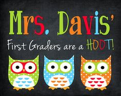 """need to ask about downloading this """"Mrs. Davis'"""" owl picture to give to Bella's teacher from last year! Back to School Bash Basket 4: {Part 2}"""