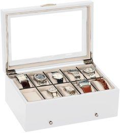 Mele & Co Luxury White Satin Wood 10 Watch Display Case Storage Box Wooden Watchbox: Amazon.co.uk: Watches