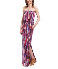 b1b417e1e26 Splendid Fuchsia Abstract Strapless Maxi Dress by Splendid