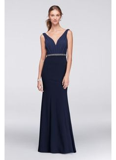 Chiffon and Crepe Plunge-Front Gown VC3320