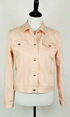 105890e688 Lauren Jeans Co. Ralph Lauren Women s Sz S Peach Denim Trucker Jean Jacket  EUC