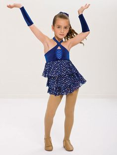 Revolution Dancewear Blue Silver Dance Costume Child M CM Sequins Tap Jazz  #Curtaincall