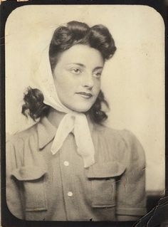 1940s woman with hair scarf
