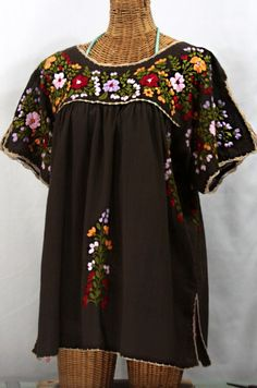 "Earth tones!  Siren's ""Lijera Libre"" XL Embroidered Mexican Peasant Top in Earthy Brown, $62.95.  Check out all the new colors:  http://www.sirensirensiren.com/shop/new!-embroidered-peasant-tops/lijera-libre-xl-xxl"