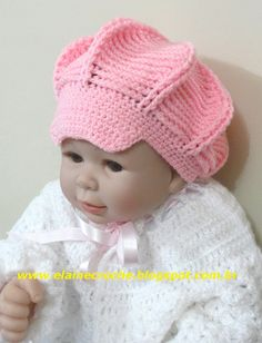 CROCHE - BOINA RELEVO BABY Crochet Cap, All Free Crochet, Crochet Baby Booties, Crochet Beanie, Crochet For Kids, Baby Knitting Patterns, Crochet Patterns, Crochet Crocodile Stitch, Crochet Stitches