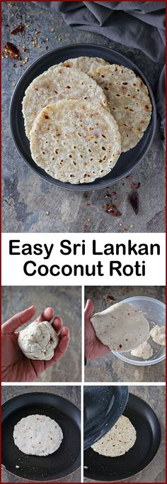Easy Sri Lankan Coconut Roti Recipe (with Chili Flakes) Easy 3 Ingredient Kokosroti aus Sri Lanka Indian Food Recipes, Asian Recipes, Vegetarian Recipes, Cooking Recipes, Ethnic Recipes, Diet Recipes, Recipies, Healthy Recipes, Sri Lankan Curry