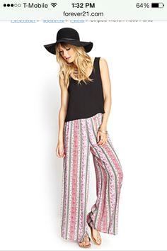 Long woven striped pant