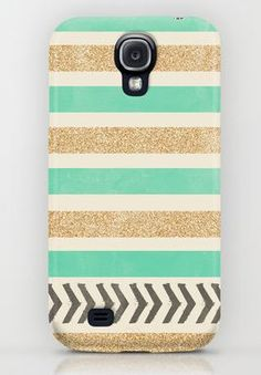 Mint and Gold Stripes case for Samsung S4 -Who says no pretty cases for Android users?