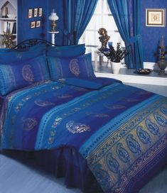 Asian / Indian 'Kashmir' Navy Blue / Purple / Gold, King Size Bed Duvet Cover Bedding Set, Superior Quality 68 Pick Fabric: Amazon.co.uk: Kitchen & Home