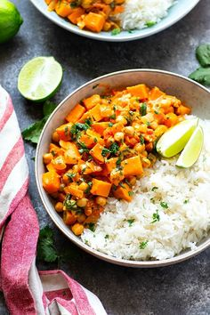 Red Thai sweet potato chickpea curry in a creamy spicy coconut sauce is loaded with hearty vegetables and an incredible vegetarian take on curry!