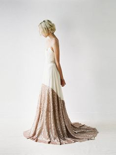 Fresh Give your wedding dress a non traditional edge with a metallic sequined skirt