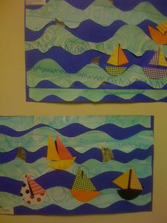 "Winslow Homer collages.  The students painted paper, then cut out ""waves"" and glued onto blue paper. Scrapbook paper was used for the boats.  Tin for the shark fins.  Senior Kindergarten project."