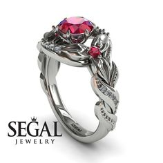Engagement ring White Gold Flowers Vintage Art Deco Ring Ruby With White diamond - Isabelle Victorian Engagement Rings, Classic Engagement Rings, Deco Engagement Ring, Rose Gold Engagement Ring, Designer Engagement Rings, Victorian Ring, Vintage Art Deco Rings, Ring Verlobung, Art Deco Ring