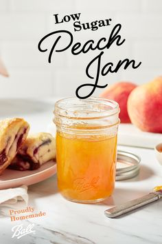 Satisfy your sweet tooth without the guilt with Ball®'s Low Sugar Peach Jam recipe. The natural sweetness of delicious peaches packed into each jar, mixed with sugar substitutes makes for a more health-conscious version of your favorite jam. Jelly Recipes, Fruit Recipes, Diabetic Recipes, Drink Recipes, Keto Recipes, Peach Jelly, Jam And Jelly, Balls Recipe, Recipe Box
