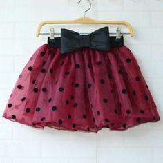 Sweet Ruffled Bow Polka Dot Print Organza Women's Skirt