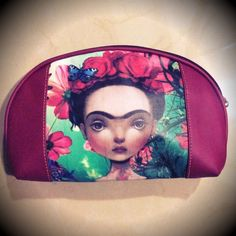 """Frida Kahlo Cosmetic Bag Burgundy Red Mexican Art Gorgeous cosmetic bag, brand new, no tags, from Mexico, featuring mexican painting artist Frida Kahlo who has been very popular in street fashion lately, you can see her art on shirts and bags specially... Very bright, colorful and beautiful piece! Measurements 8"""" x 2"""" x 5.5"""" Printed on both front and back. Burgundy red on sides, zip closure. Boutique Bags Cosmetic Bags & Cases"""