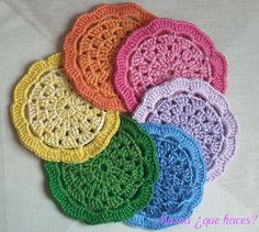 POSAVASOS CROCHET by mamaquehaces,